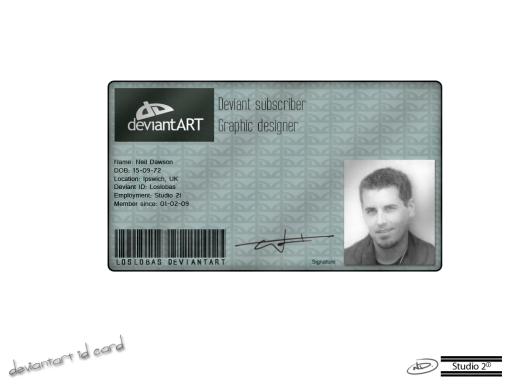 My own design for a deviantART ID card